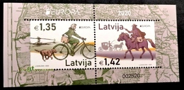 Latvia Lettland Lettonie 2020 Europe - Old Post Roads - Bicycle - Horse MNH BLOCK - SUPER SIZE Very RARE - 2019