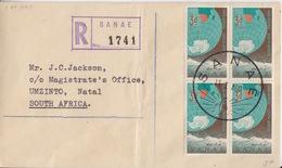 Polaire Sud-africain, 221 X 4 Obl. Premier Jour Sanae Le 11 I 60 Sur Env. Recommandée Pré-imprimée - South Africa (...-1961)