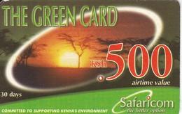 TARJETA DE KENIA DE GREEN CARD DE KSH 500 PAISAJE - PUESTA SOL -SUNSET DATE 2003/06/30 - Kenia