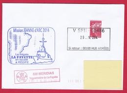 4823 Marine, FLF La Fayette, Mission Jeanne D'Arc 2014, Escale à Récife, Brésil, Oblit. Manuelle Rectangulaire V SPID 10 - Posta Marittima