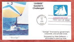 Umschlag, FDC, Sverige Sweden's Challenger, Segelschiff, Newport 1980 (93868) - 1961-80
