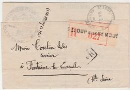 1934 / Enveloppe Recommandée Franchise Juge De Paix De Saint-Loup Sur Semouse 70 / Convocation Coulin Carrier à Fontaine - Postmark Collection (Covers)