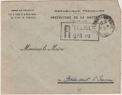 1945 / Enveloppe Recommandée Franchise / Préfecture Vesoul / Pour Mairie - Postmark Collection (Covers)