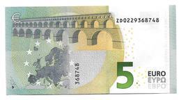 (Billets). 5 Euros 2013 Serie ZD, Z020C6 Signature 3 Mario Draghi N° ZD 0229368748 AUNC Leger Pli - EURO