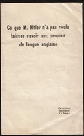 Ce Que M. Hitler N'a Pas Voulu Laisser Savoir Aux Peuples De Langue Anglaise (1938) - 5 Pages - 3 Scans - Books, Magazines  & Catalogs