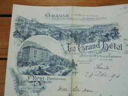 FACTURETTE - 06 - DEPARTEMENT ALPES MARITIMES - GRACE 1894 - LE GRAND HOTEL : F. PROST, PROPRIETAIRE - DECO - Frankrijk