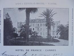 FACTURETTE - 06 - DEPARTEMENT ALPES MARITIMES - CANNES 1909 - HOTEL DE FRANCE  - DECO - Frankrijk
