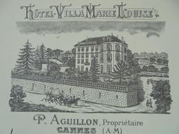 FACTURETTE - 06 - DEPARTEMENT ALPES MARITIMES - CANNES 1908 - HOTEL VILLA MARIE LOUISE - P. AGUILLON - DECO - Frankrijk
