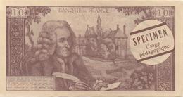Billet Fictif 10 Francs 1966 : Spécimen Usage Pédagogique - Specimen