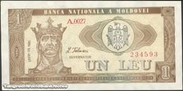 TWN - MOLDOVA 5 - 1 Lei 1992 Series A.0027 AU/UNC - Moldova