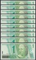 Brasilien - Brazil 10 Stück á 1 Real (2003) Pick 251 UNC (1)   (89092 - Banconote
