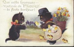 Inter-Art Co * COMIQUE Series 3448 * Que Cette Heureuse Matinée De Pâques Te Porte Bonheur (oeuf Chat Poussins) - Illustrateurs & Photographes
