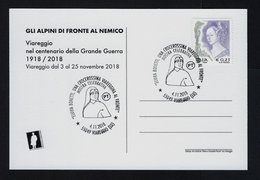 """2018 ITALIA """"GLI ALPINI DI FRONTE AL NEMICO BATT. SPLUGA  / CENTENARIO GRANDE GUERRA"""" ANNULLO 04.11.2018 (VIAREGGIO) - Italia"""