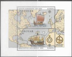 Faroe Islands  1992   Sc#238   Discovery Of America Souv Sheet  MNH   2016 Scott Value $11 - Unused Stamps
