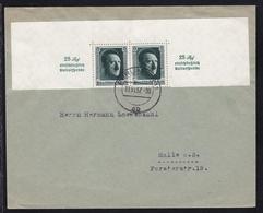 Hitler 6 Pfg. 2x (obere Blockhälfte) Auf Brief Ab Berlin W11 11.11.37 Nach Halle A.S. - Germany