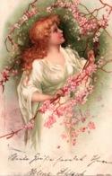 Fantaisie, Illustration, Femme Parmi Les Fleurs (Junge Frau) - Trade Kopal Mark Serie 139 - Women