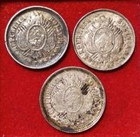 BOLIVIA 3 X 5 CENTAVOS 1878, 1889, 1890. SILVER, ARGENT. BOLIVIE - Bolivia