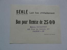 VIEUX PAPIERS - BON POUR REMISE DE 25 % : SEKLE Lait Sec D'allaitement - Reclame