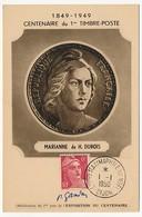 FRANCE - Carte Maximum Affr 6F Gandon - Exposition Maximaphile De Dijon - 1-1-1950 DIJON - 1945-54 Marianne Of Gandon
