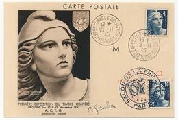 FRANCE - Carte Maximum Affr 4F Et 10F Gandon - Exposition Timbres Oblitérés LIBOURNE 1945 + Paris /signée Gandon - 1945-54 Marianne Of Gandon