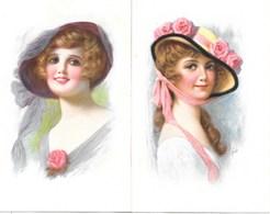 Illustration Femme Au Chapeau - Beautés Féminines Années 20 - Lot De 2 Cartes K.V.L.M. Non Circulées, Signature L.U? - Frauen