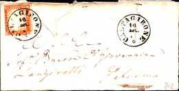 94210) ITALIA-SARDEGNA-LETTERA CON 10 C. Quarta Emissione DA CALTAGIRONE A PALERMO IL 10-12-1862 - Sardegna