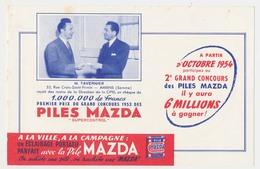 Buvard 20.8 X 13.4 La Pile MAZDA éclairage Portatif Le 1er Prix (chèque D'un Million De Francs) Du Grand Concours 1953* - Electricidad & Gas