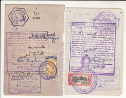 1955, 1984 CEYLON 2 CONSULAR REVENUE STAMPS ON TRAVELLING DOCUMENTS RARE - Sri Lanka (Ceylan) (1948-...)