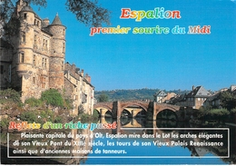 12 - Espalion - Vu Du Foirail, Le Vieux Pont Du XIIIe Siècle Et Le Vieux Palais Renaissance - Espalion