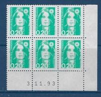 "FR Coins Datés YT 2618a "" Briat 20c. émeraude Ss Phosphore "" Neuf** Du 3.11.93 - 1990-1999"
