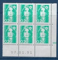 "FR Coins Datés YT 2618 "" Briat 20c. émeraude "" Neuf** Du 7.01.91 - 1990-1999"
