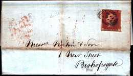 94211) GRAN BRETAGNA-LETTERA CON  1 P. ROSSO NON DENTELLATO PER BISHOPAGALE IL 10-12-1850 - 1840-1901 (Regina Victoria)
