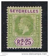 SEYCELLES:  1921/28  GIORGIO  V° -  2 R. 25  VERDE  E  VIOLETTO  US.  -  YV/TELL. 109 - Seychelles (...-1976)