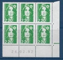 "FR Coins Datés YT 2714 "" Marianne Briat 2F30 Vert "" Neuf** Du 24.02.92 - 1990-1999"