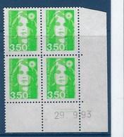 "FR Coins Datés YT 2821 "" Briat 3F50 Vert-jauneu "" Neuf** Du 29.9.93 - 1990-1999"