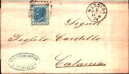 94214) ITALIA-20 C.Effigie Di Vittorio Emanuele II Riquadrata DA MESSINA A CATANIA IL 8-2-1874 - 1861-78 Vittorio Emanuele II