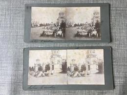 Fin 19ème Siècle 1888 1889  2 Photos Cartes Stéréoscopiques Privée Stéréo Cimetière De Milano Campo Santo Cimitero - Milano (Milan)