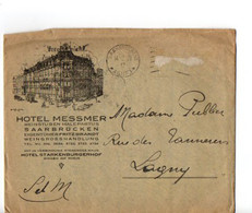 B8  14 02 1928  Lettre  Entete Hotel Messmer  + Courrier  Manque TP - Allemagne