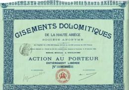 09-GISEMENTS DOLOMITIQUES De La HAUTE-ARIEGE. - Actions & Titres