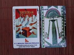 2 Phonecards Indonesia  Used Rare - Indonesië