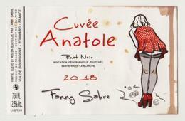 """Etiquette PINOT NOIR """" Cuvée Anatole """" Pétanque - Fanny Sabre Pommard (2898)_ev623 - Érotique"""