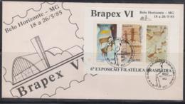 PREHISTORIC CAVE ART - BRAZIL -1985- BRAPEX SOUVENIR SHEET  ON ILLUSTRATED FDC - Prehistorics