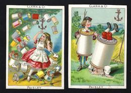 Set Of 2 Old VICTORIAN TRADE CARDs CLARK & Co Paisley / VTC Fantasy Anthropomorphic Animals CHROMO Alice In Wonderland - Sonstige