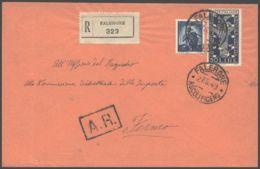 1949 BIENNALE VENEZIA Lire 50 + DEMOCRATICA Lire 5 Su Raccomandata Falerone (27.5) - 6. 1946-.. República