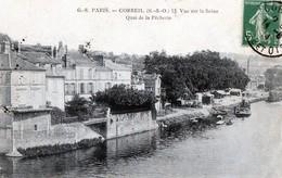 Lot De 5 CPA - 91 - CORBEIL - Quai De La Pêcherie, Place Galignani, L'Eglise, L'Essonne, Porte Du Cloître - Corbeil Essonnes
