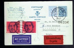 CP 168 + 854 + RFA 521 X2 !! RÉPONSE !! Exprès Northeim '(All) 31 12 70 => Borsbeek + Verso   ( Etat !! ) - Postcards [1951-..]