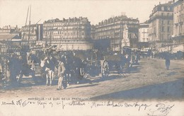 13 Marseille Quai De La Fraternité Carte Photo Animée Attelage Cachet 1902 - Canebière, Stadscentrum