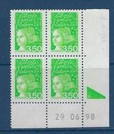 "FR Coins Datés YT 3092b "" Luquet 3F50 Vert-jaune 2 Bdes Phosphore "" Neuf** Du 29.06.98 - 1990-1999"