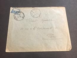 Lettre Tunisie 1922 Cachet Ambulant Sfax A Tunis - Storia Postale