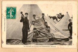 X02011 Aisne CAMP De SISSONNE Le REVEIL Au CLAIRON 30.03.1914 Edition RUET Freres Militaria - Sissonne